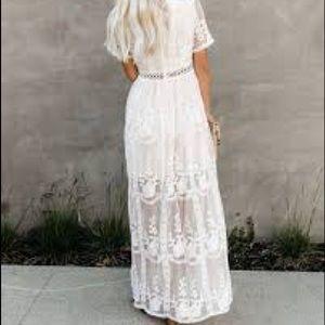 Off white lace maxi dress, size XL